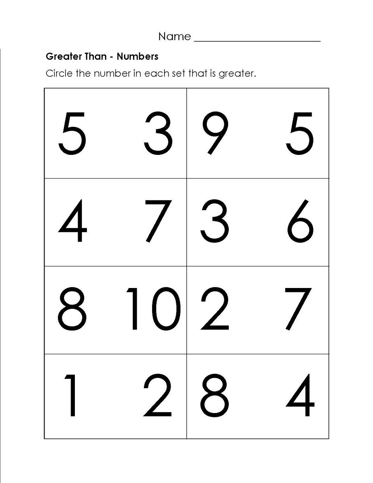 More Or Less Worksheets Comparing Numbers