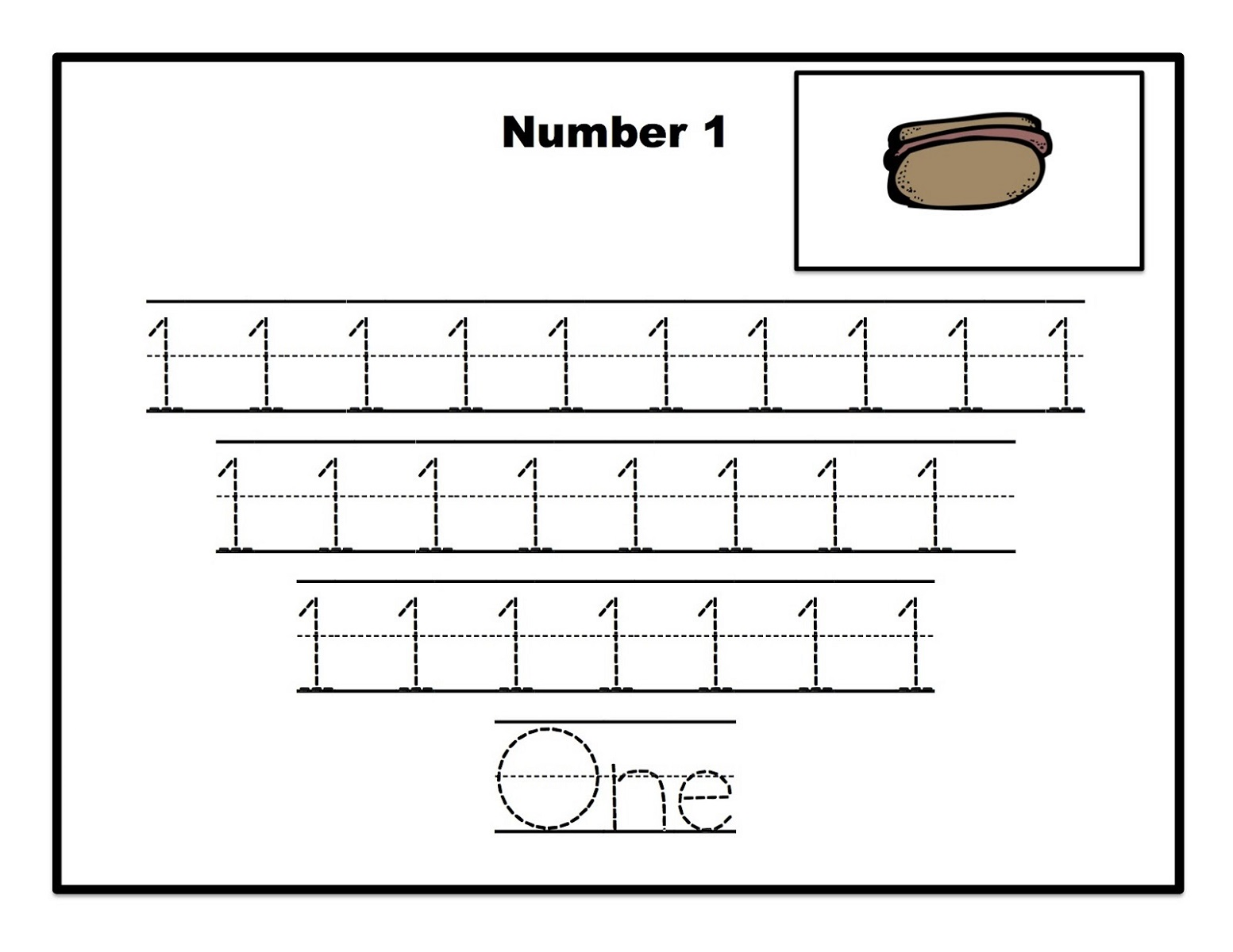 Printable Number Trace Worksheets For Preschool