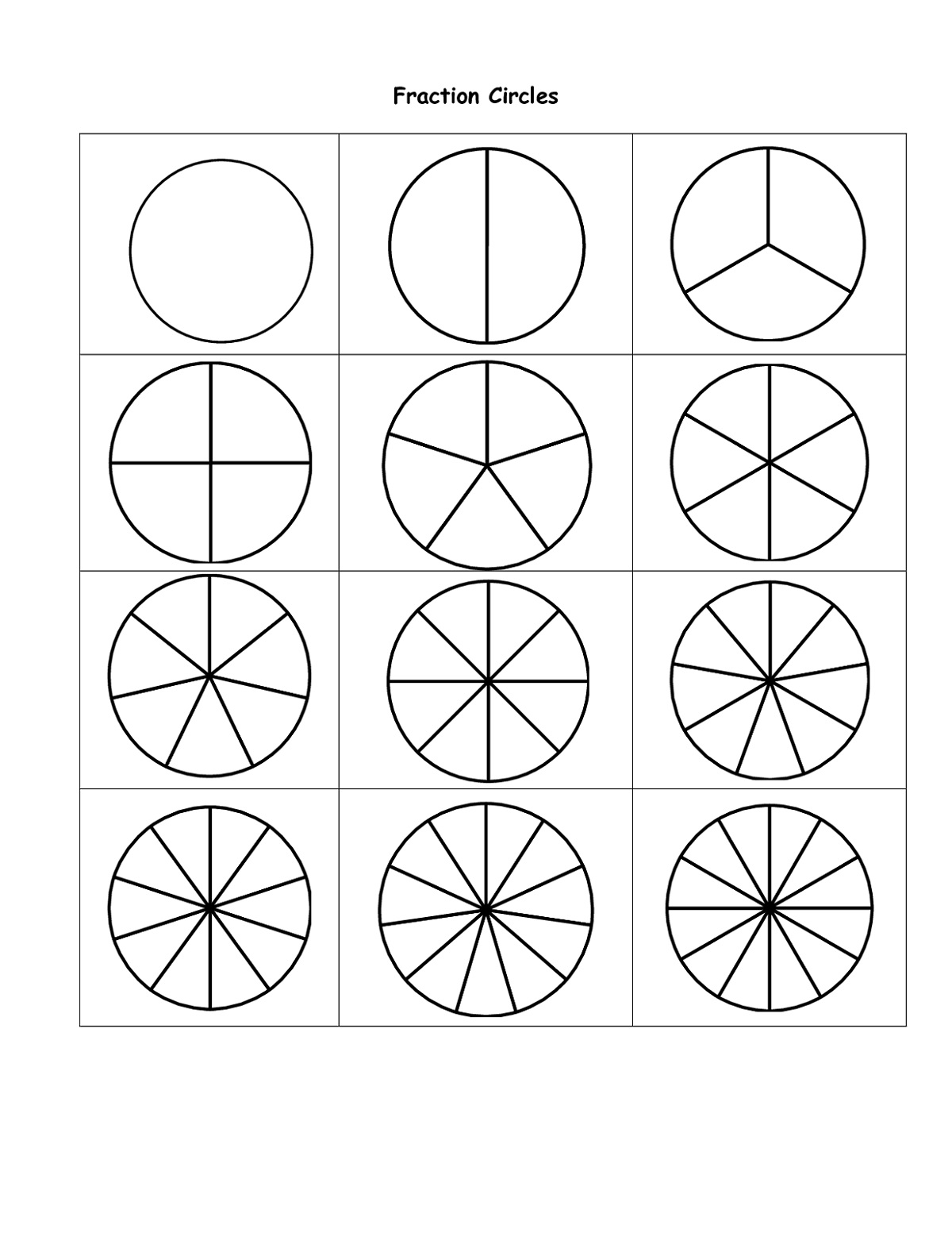 Printable Percent Circle Templates