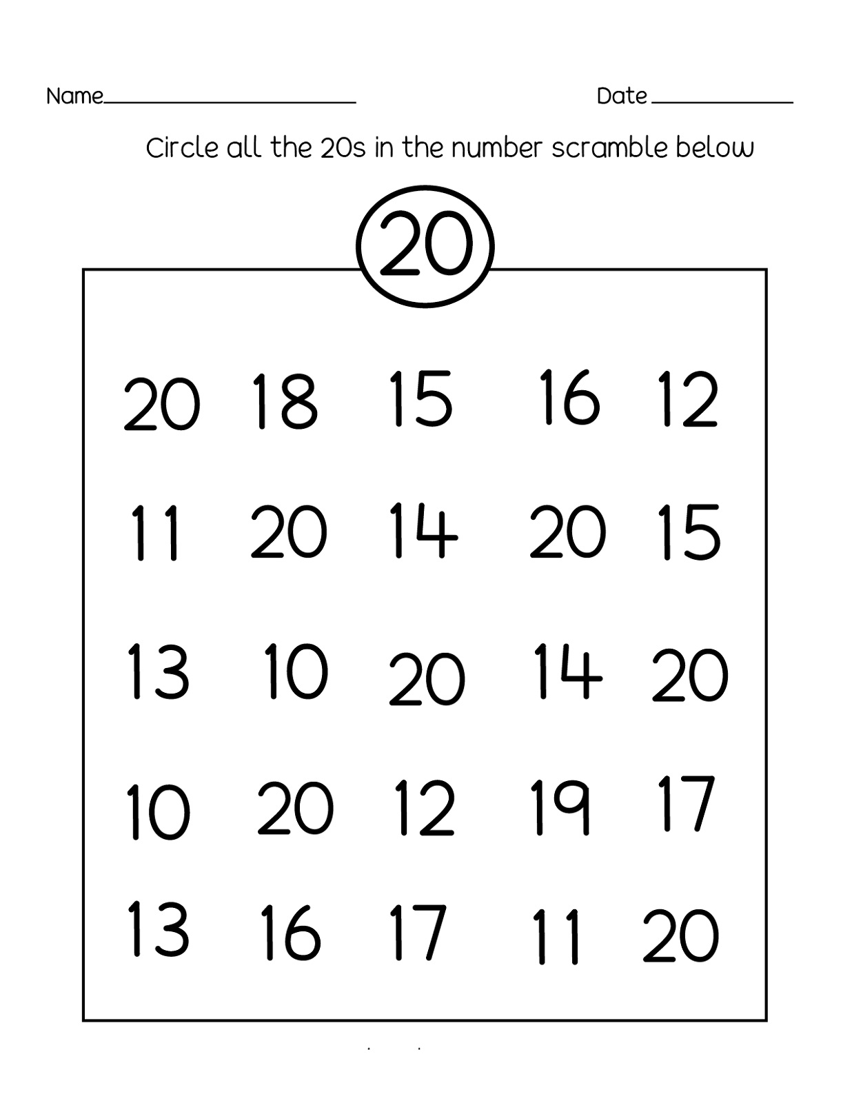Number 20 Worksheets And Exercises