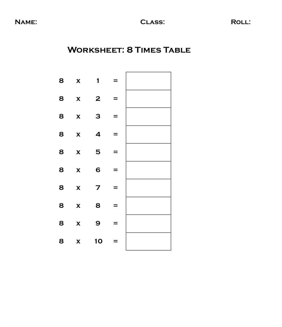 Printable 8 Times Table Worksheets