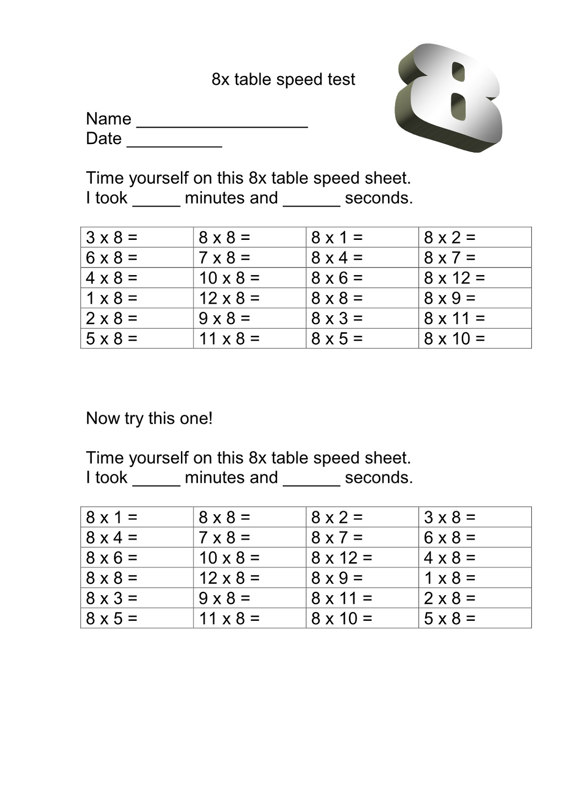Printable 8 Times Table Worksheets