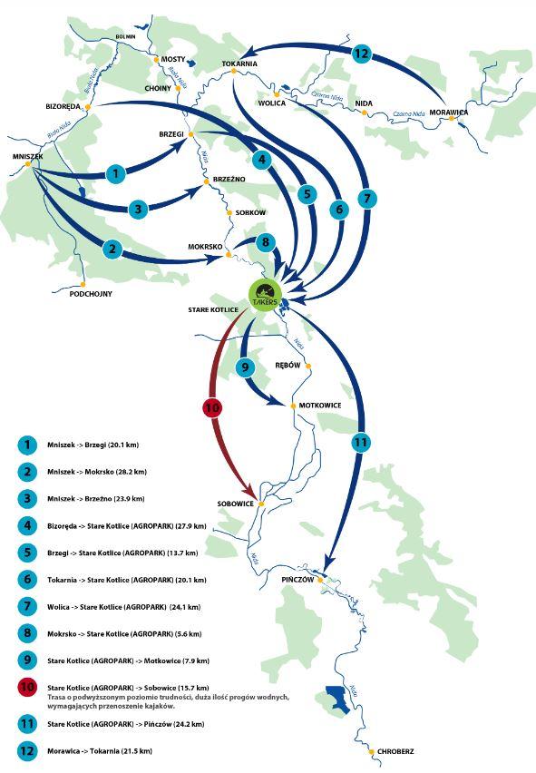 mapka spływów kajakowych