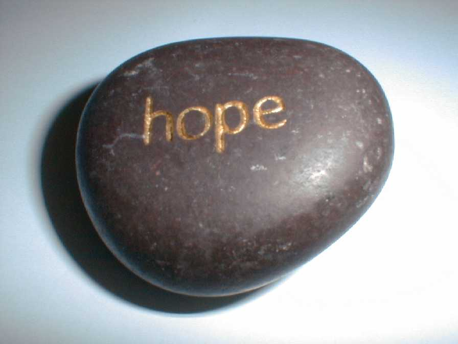 """stone with """"hope"""" engraved on it"""