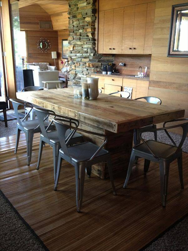 DIY Pallet Wood Dining Table 101 Pallets