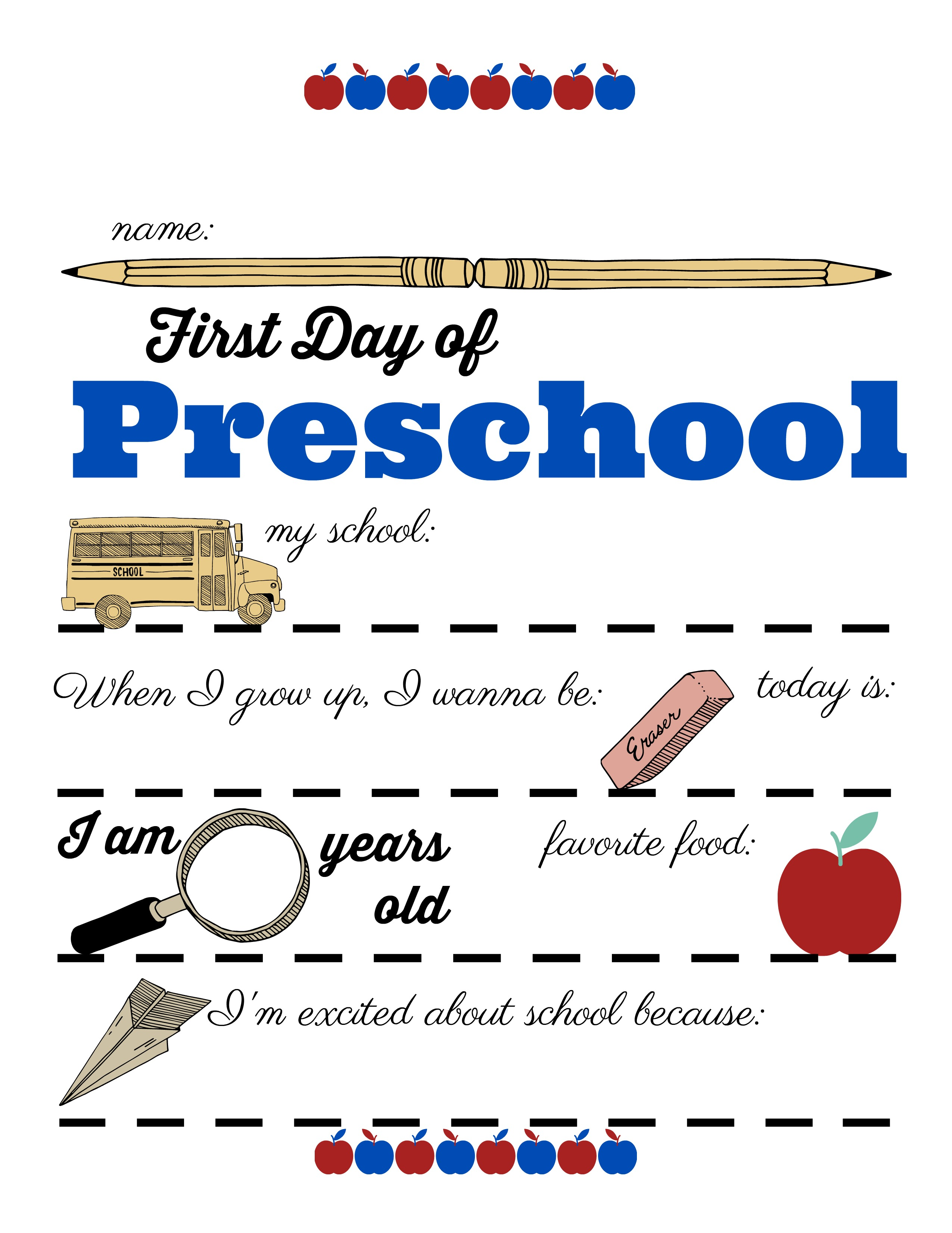 Free Printable First Day Of School Sign All Grades