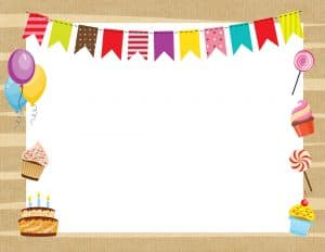 Birthday frame with balloons, cakes and a party banner