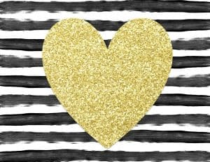 black and white stripes with gold glitter heart