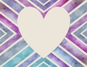 shades of purple and blue with a big heart
