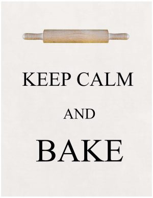 Keep calm and bake with a picture of a rolling pin
