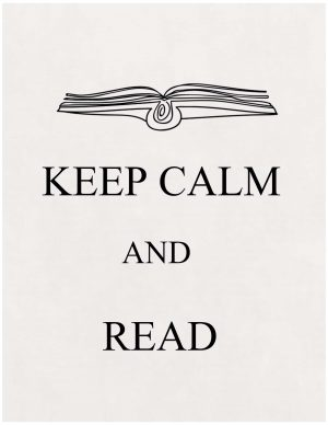 Keep calm and read with a picture of a book