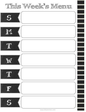 chalkboard labels for days of the week on menu planner