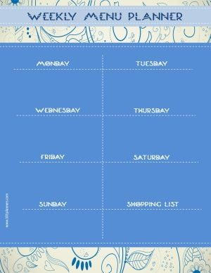 menu planner with a blue background and a blue pattern