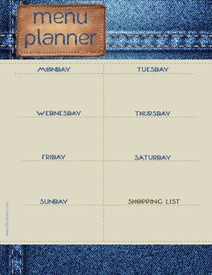 """jeans background with a leather tag with the title """"menu planner"""""""