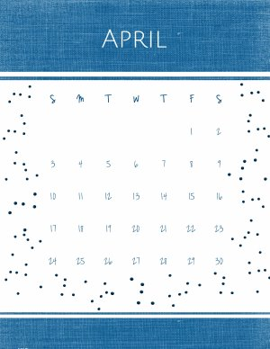 Free April calendar printable in blue and white