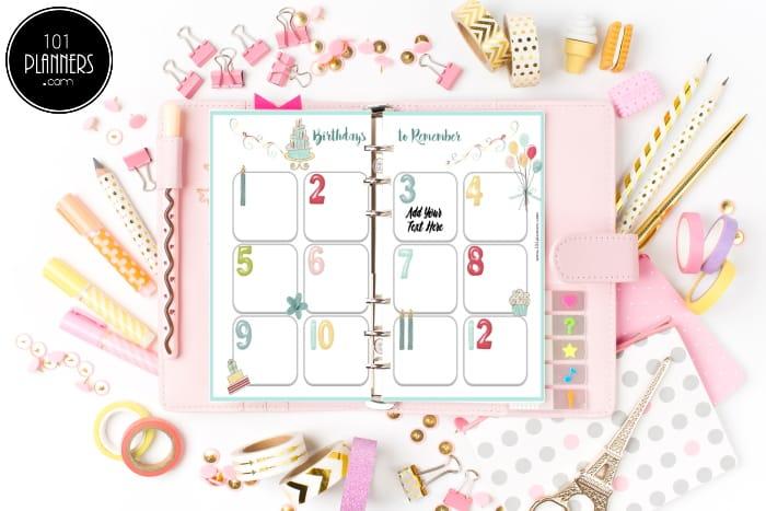 Birthday planner printable