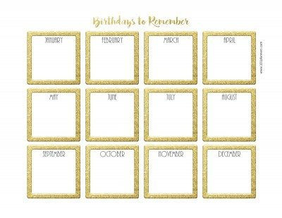 Gold birthday calendar