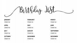 Birthday calendar online