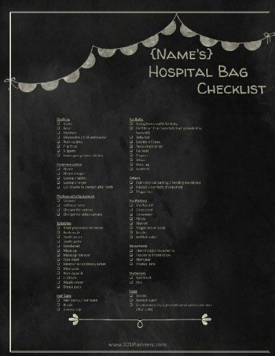 chalkboard checklist for hospital bag