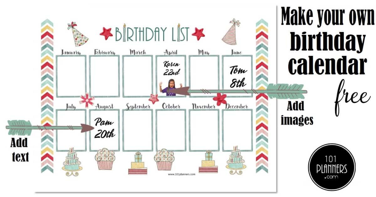 Free Birthday Calendar Template | Printable \u0026 Customizable