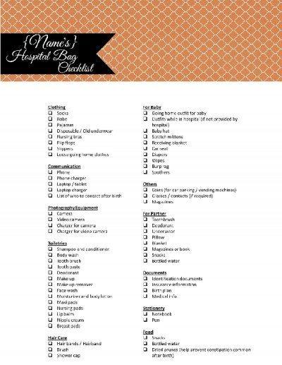 hospital bag list