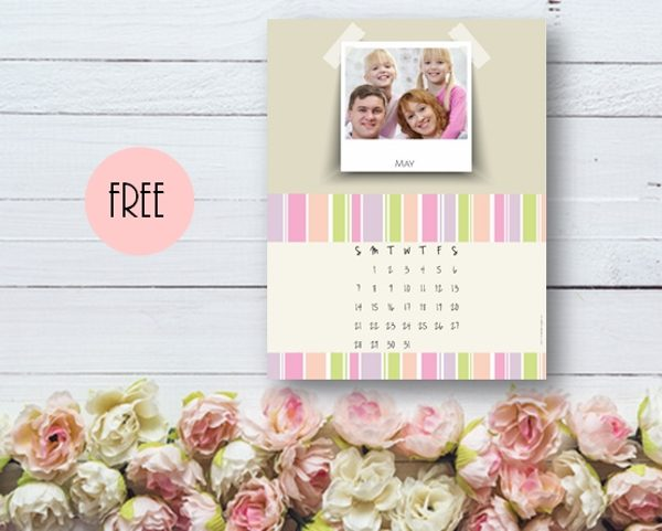 Free photo calendar with pastel colors