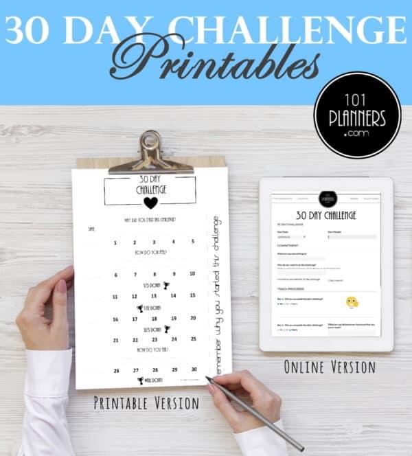 30 zi weightloss challenge calendar)