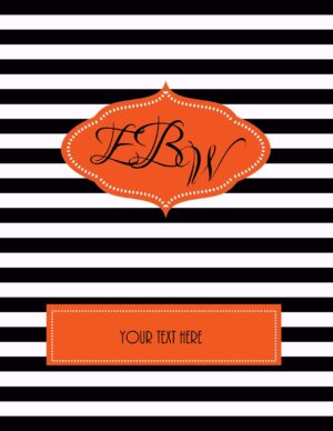 monogrammed binder with black stripes and orange labels