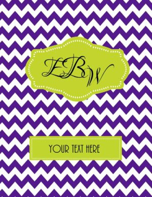 purple chevron with monogram