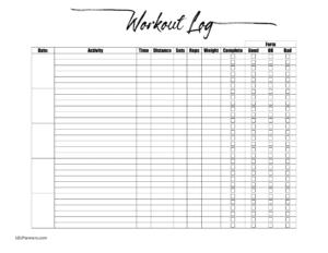 excel fitness log