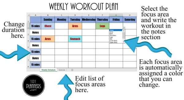 weekly workout plan by body area