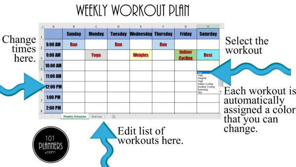 weekly workout plan by workout
