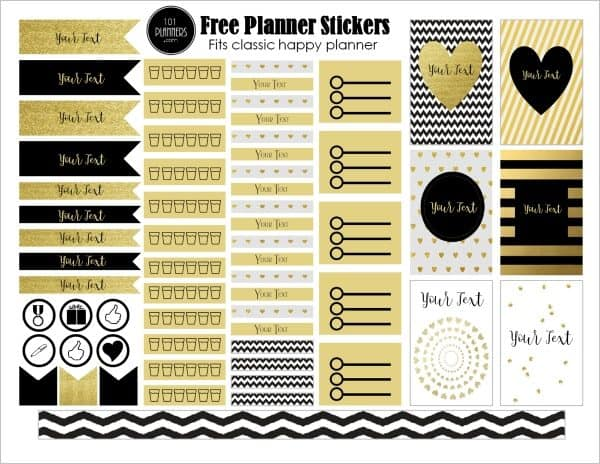 Black and gold stickers