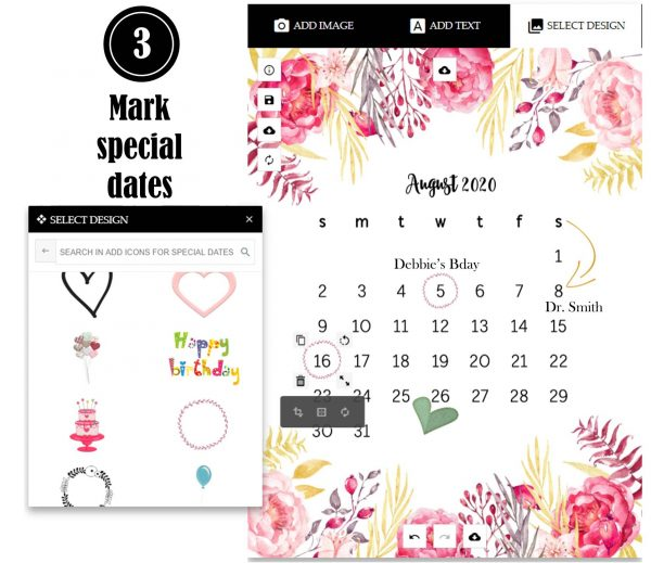 Add icons to mark a date