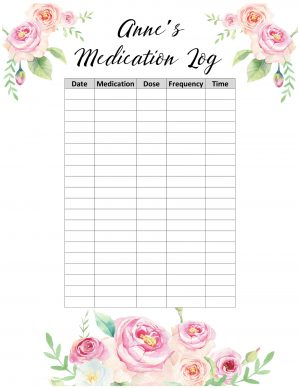 Printable medication sheet