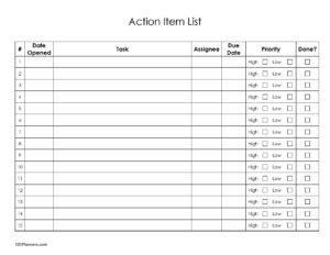 Action Item List