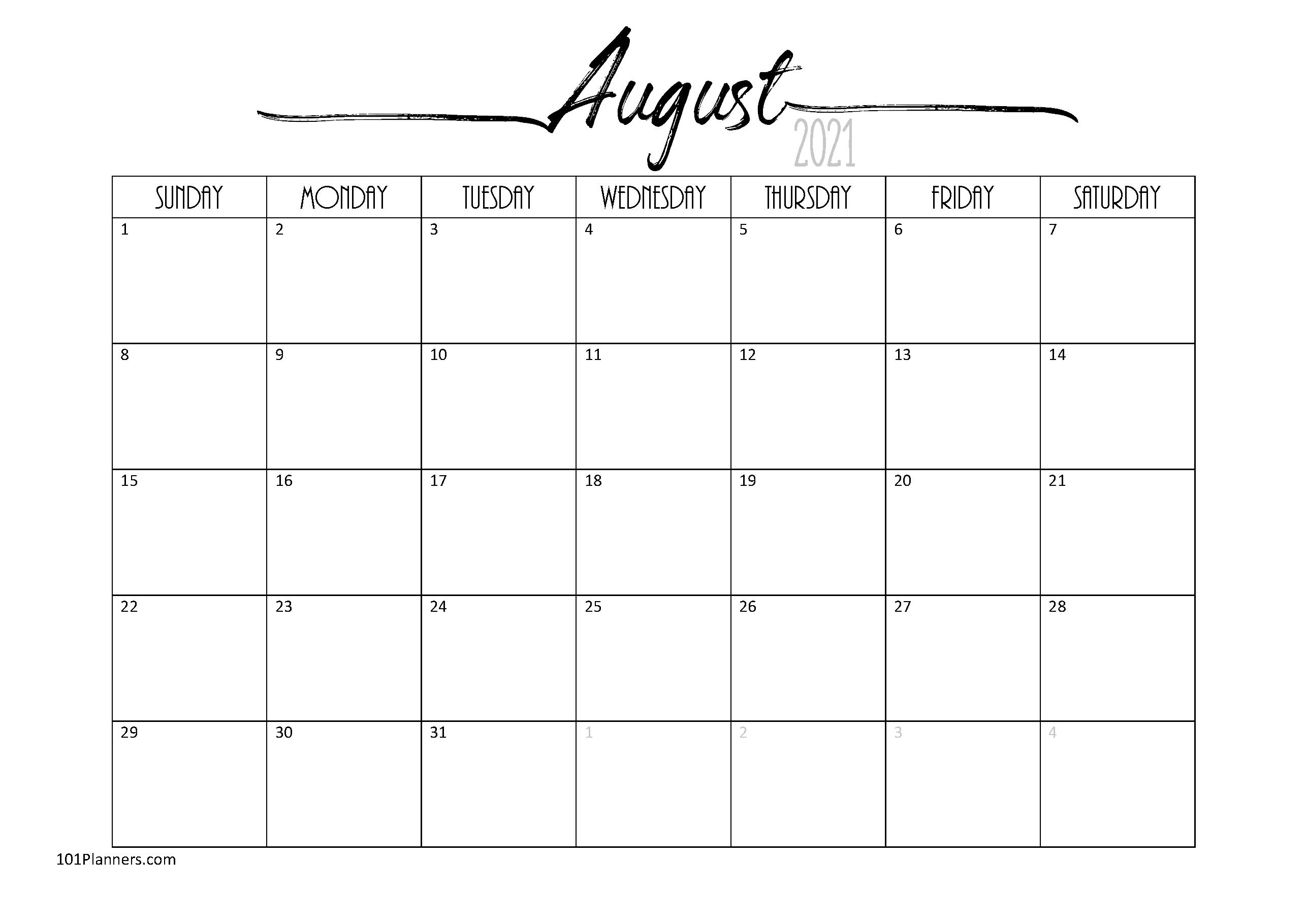August 2021 Calendar Word Free Printable August 2021 Calendar