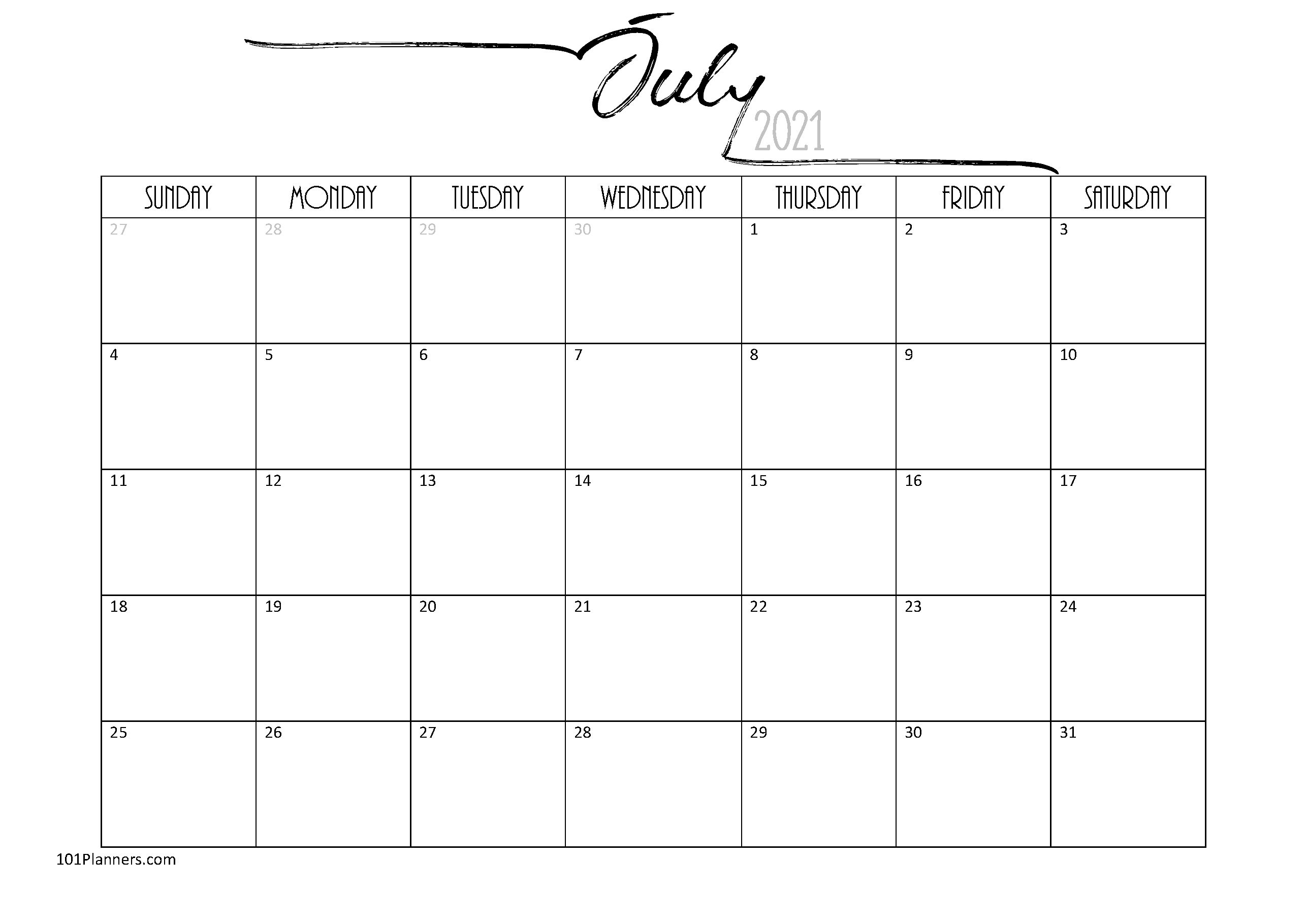 Free Printable July 2021 Calendar | Customize Online