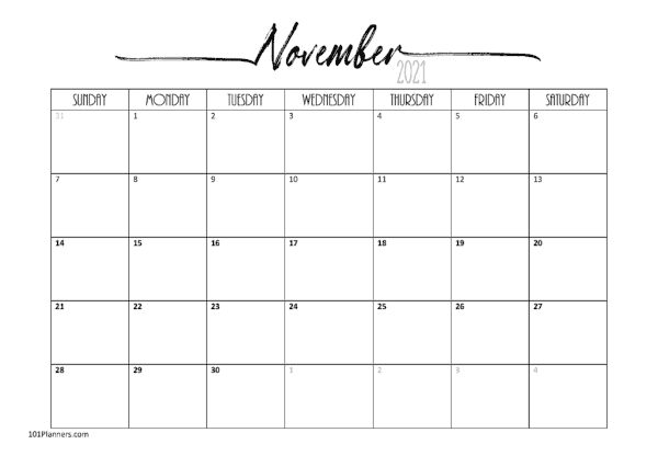 Free Printable November 2021 Calendar | Customize Online