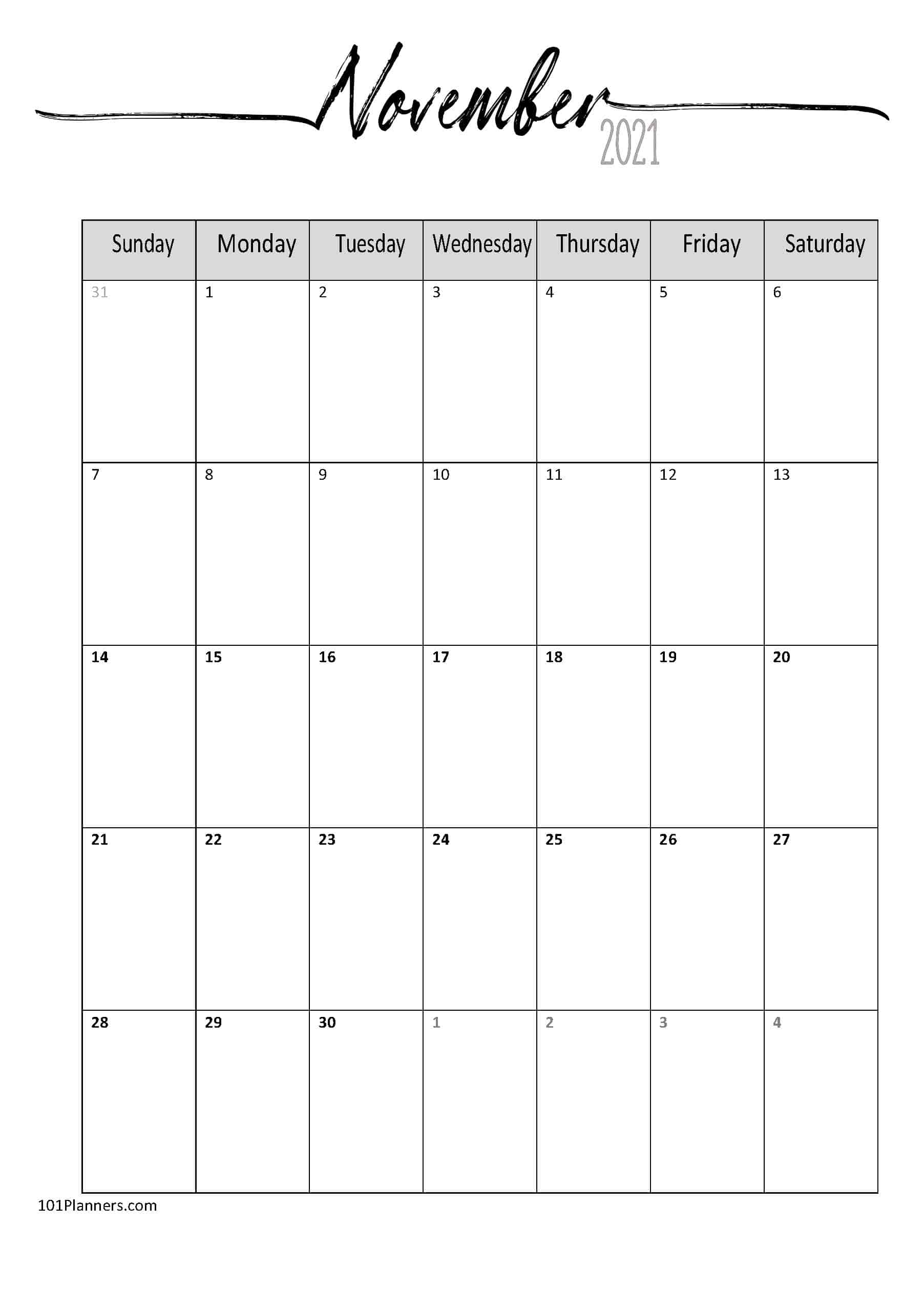 FREE 2021 Calendar Template Word | Instant Download