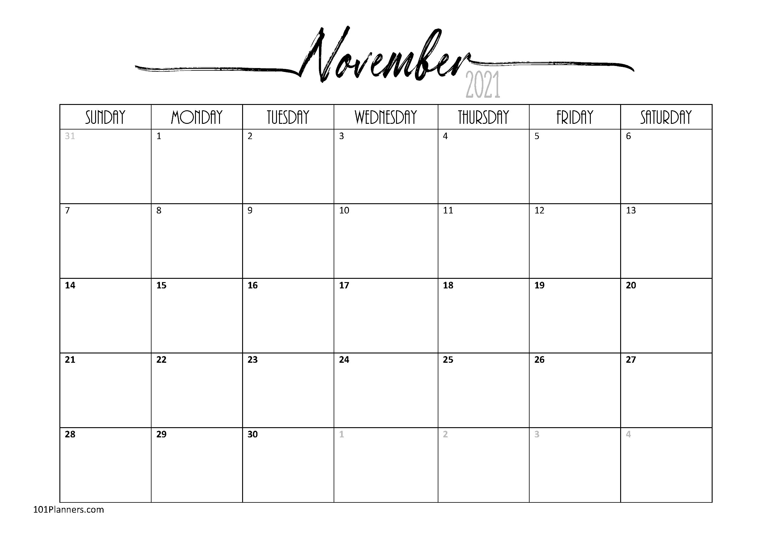 Free Printable November 2021 Calendar | Customize Online