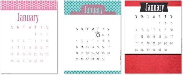 calendars for January