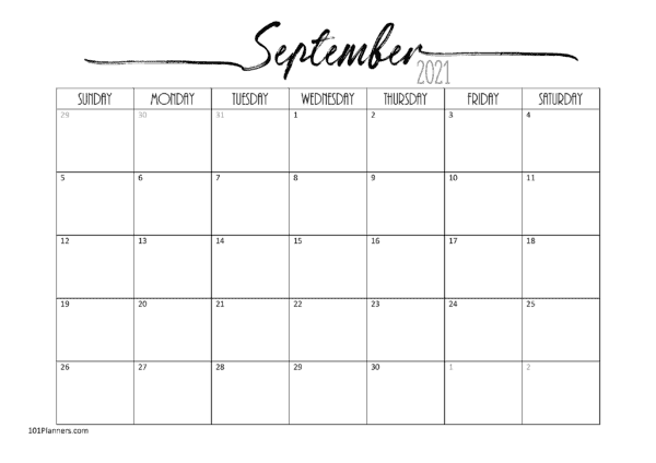 Free Printable September 2021 Calendar | Customize Online