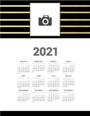 Black and gold calendar printable