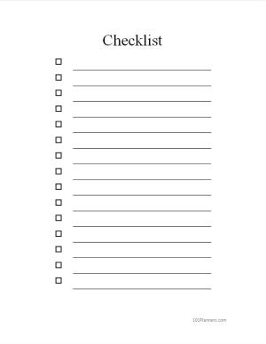 Free Checklist Template Word