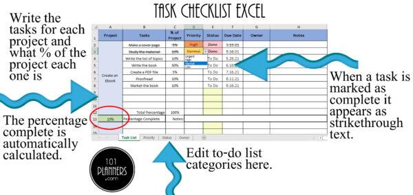 checklist Excel