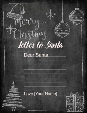 Chalkboard letter to Santa