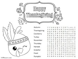 Printable Thanksgiving placemats for kids with a word search