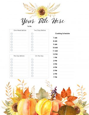Plan your menu and to do list