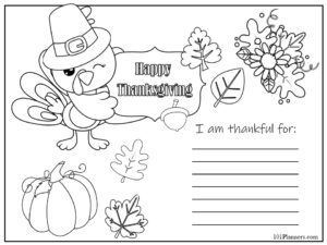 DIY printable Thanksgiving Placemats with a gratitude list